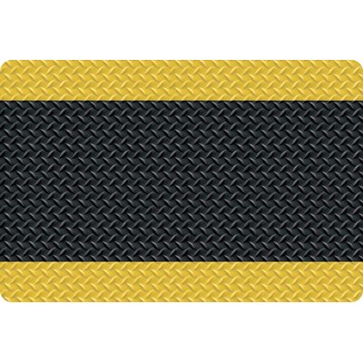 Diamond Foot Anti-Fatigue Doormat Color: Black with Yellow Border, Size: 3 x 10