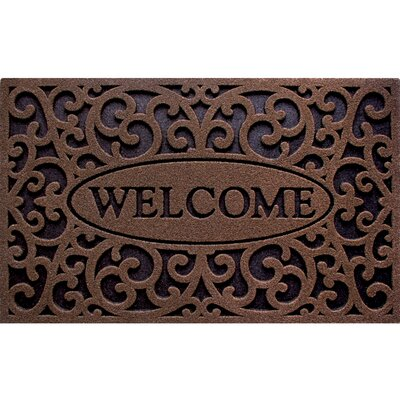 Welcome Design Doormat Color: Coffee