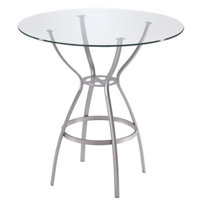 "Trica Rome Dining Table - Height: Dining Height (28""), Top Finish: 36"" Glass Top, Base Finish: Mushroom"