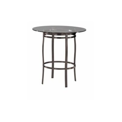 """Trica Bourbon Dining Table - Height: Dining Height (28""""), Top Finish: 42"""" Glass Top, Base Finish: Sienna Metal"""