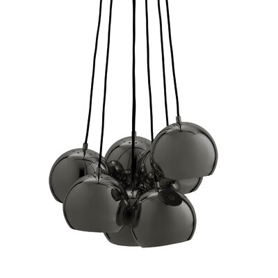Ball Multi 7-Light Cluster Pendant Finish: Black Chrome