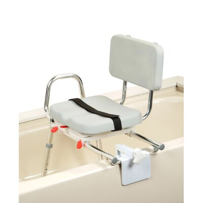 Tub Mount X-Short Transfer Bench with Padded Swivel Seat and Back image