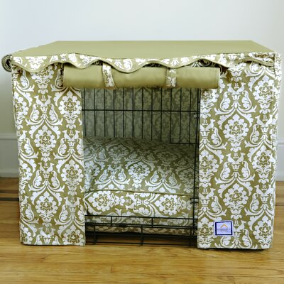 Damask Dog Crate Cover Size: Small (21 H x 24 W x 18 - 19 D)
