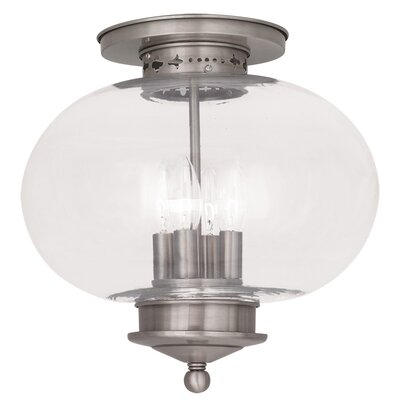 Shielo Glass Shade Semi Flush Mount Finish: Brushed Nickel