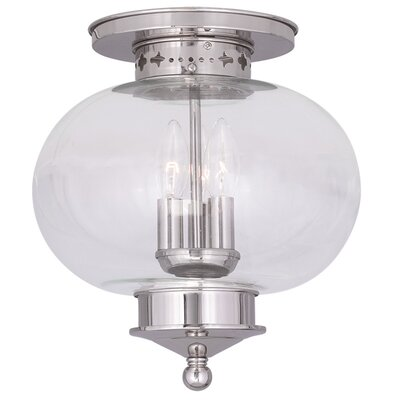 Shielo Sphere Shade Semi Flush Mount Finish: Polished Nickel, Size: 11.5 H x 11 W