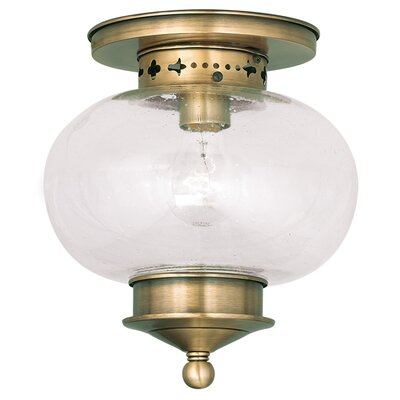 Shielo 1-Light Semi Flush Mount Finish: Antique Brass