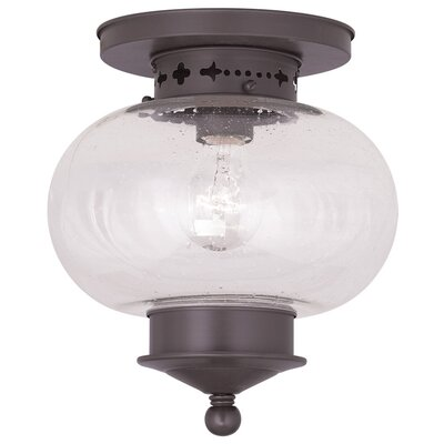 Shielo 1-Light Semi Flush Mount Finish: Bronze