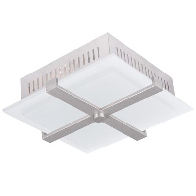 "Dillen Flush Mount Finish: Brushed Nickel, Size: 4.38"" H x 13.75"" x 13.75"" D EBND5834 40659692"