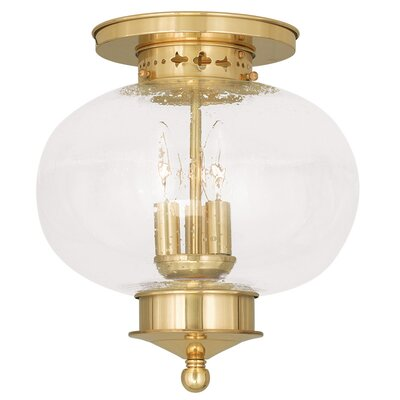 Harbor 3-Light Semi Flush Mount Finish: Polished Brass, Size: 11.5 H x 11 Dia.