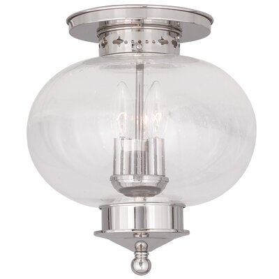 Shielo 3-Light Semi Flush Mount Finish: Polished Nickel, Size: 11.5 H x 11 Dia.