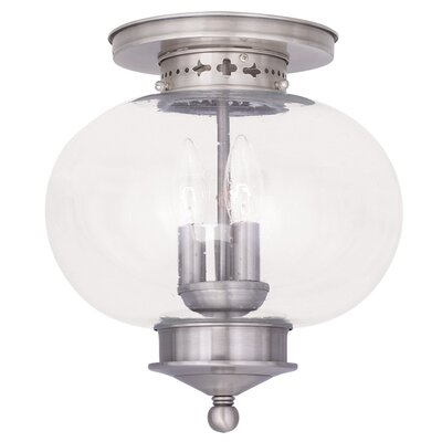 Shielo 3-Light Semi Flush Mount Finish: Brushed Nickel, Size: 11.5 H x 11 Dia.