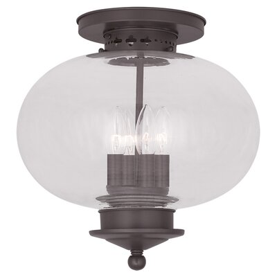 Shielo Glass Shade Semi Flush Mount Finish: Bronze