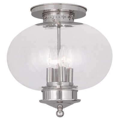 Shielo Glass Shade Semi Flush Mount Finish: Polished Nickel
