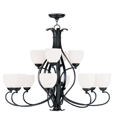 Brookside 12-Light Shaded Chandelier Finish: Old Bronze