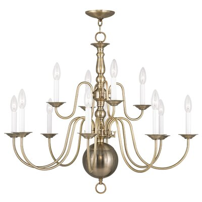 Williamsburgh 12 Light Candle Chandelier Finish: Antique Brass