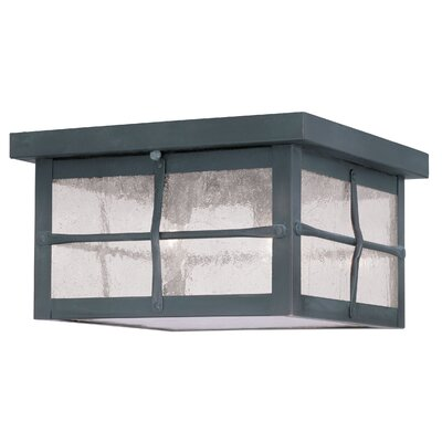 Cantero 2-Light Flush Mount Finish: Hammered Charcoal, Size: 5.5 H x 9.5 W x 9.5 D