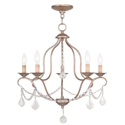 Kendrick 5-Light Candle-Style Chandelier Finish: Antique Silver Leaf