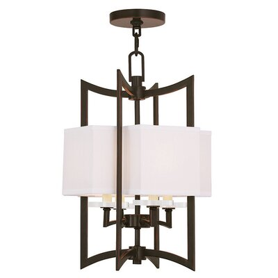 Amenia 4-Light Fabric Shaded Chandelier Size: 20 H, Finish: Olde Bronze