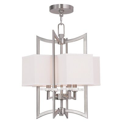 Amenia 4-Light Fabric Shaded Chandelier Size: 30 H, Finish: Brushed Nickel