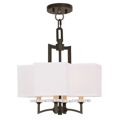 Amenia 4-Light Fabric Shaded Chandelier Finish: Olde Bronze