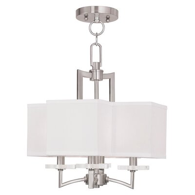 Amenia 4-Light Fabric Shaded Chandelier Finish: Brushed Nickel