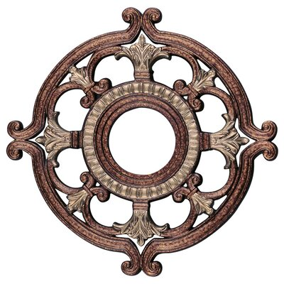 Ceiling Medallion in Palacial Bronze with Gilded Accents Size: 1.5 H x 18 W x 18 D
