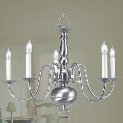 Allensby 5-Light Contemporary Metal Candle-Style Chandelier Finish: Brushed Nickel