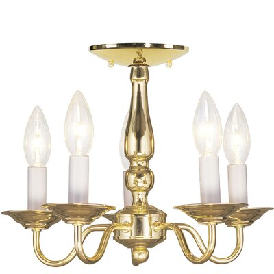 Williamsburgh 5-Light Candle-Style Chandelier Finish: Polished Brass