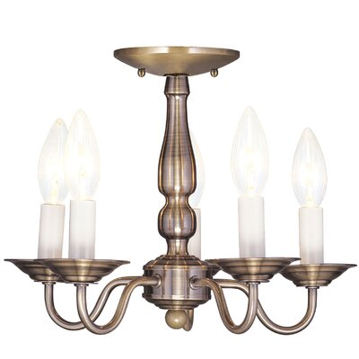 Allensby 5-Light Candle-Style Chandelier Finish: Antique Brass