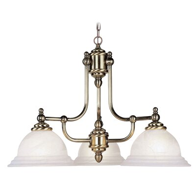 Brunette Contemporary 3-Light Shaded Chandelier