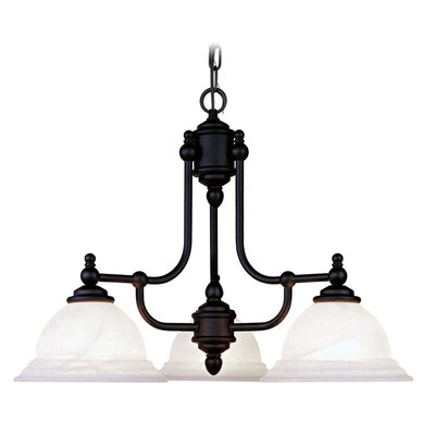 Brunette Contemporary 3-Light 100W Shaded Chandelier