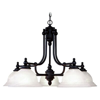 Brunette Contemporary 5-Light 100W Shaded Chandelier