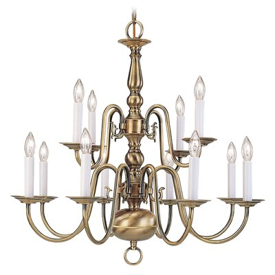 Allensby 12-Light Antique Brass Candle-Style Chandelier