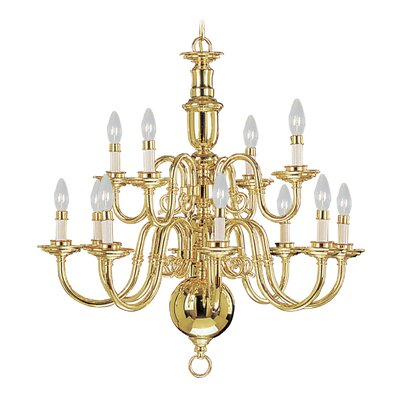 Perrone 12-Light Candle-Style Chandelier Finish: Polished Brass