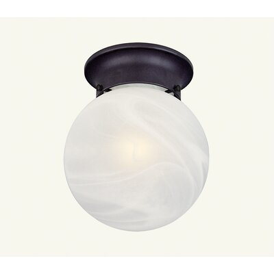 Coldspring Flush Mount with White Alabaster Glass Finish: Bronze