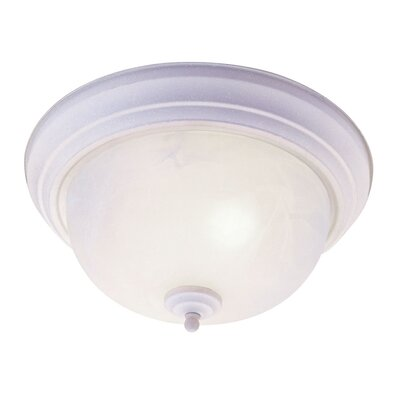 Brownstown 2-Light Flush Mount Size: 6 H x 13 W x 13 D, Color: White