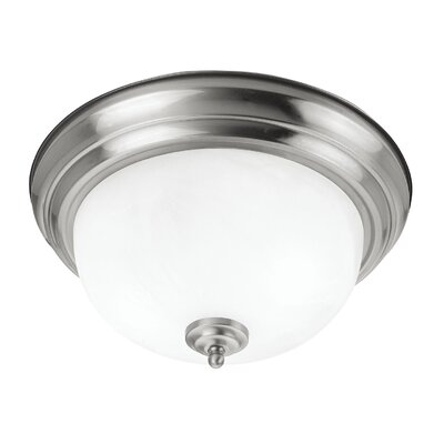 Brownstown 2-Light Flush Mount Size: 6 H x 13 W x 13 D, Finish: Brushed Nickel