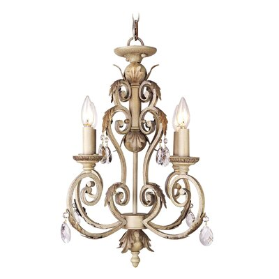Iron and Crystal 4-Light Candle-Style Chandelier