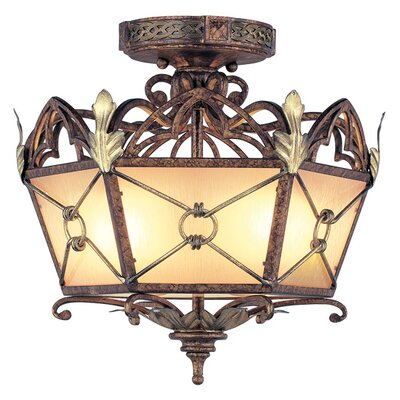 Bradner Flush Mount in Palacial Bronze with Gilded Accents