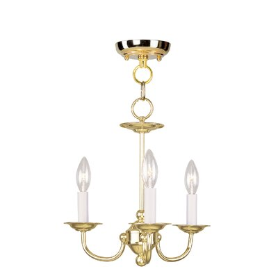 3-Light Candle-Style Chandelier Finish: Polished Brass