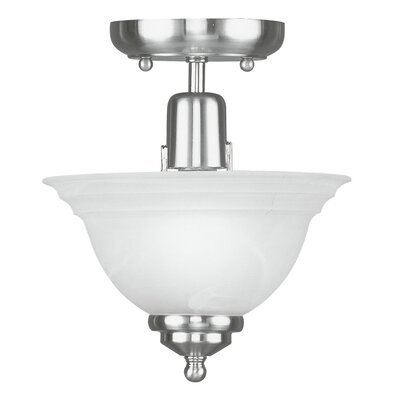 Brunette 1-Light Semi Flush Mount Finish: Brushed Nickel