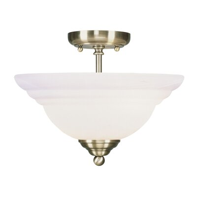 Brunette 2-Light Semi Flush Mount Finish: Antique Brass