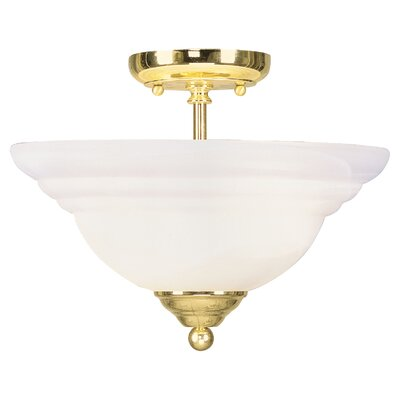 Brunette 2-Light Semi Flush Mount Finish: Polished Brass