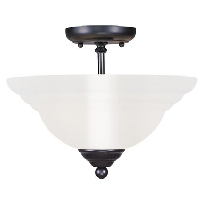 Brunette 2-Light Semi Flush Mount Finish: Black