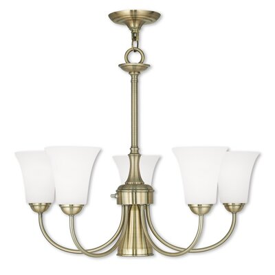 Grady Modern 5-Light Shaded Chandelier Finish: Antique Brass