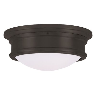 Kenneth 2-Light Flush Mount Finish: Bronze, Size: 4.5 H x 11 W