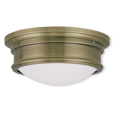 Alani 2-Light Flush Mount Size: 6.5 H x 15.5 W, Finish: Antique Brass