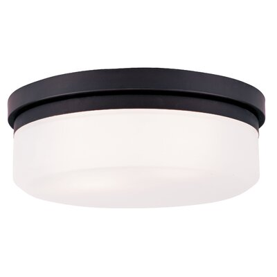 Cerie 2-Light Glass Shade Flush Mount Size: 4 H, Finish: Bronze