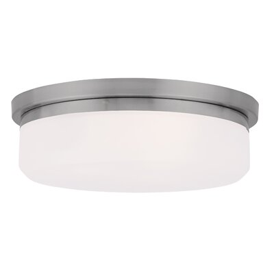 Cerie 2-Light Glass Shade Flush Mount Size: 4 H, Finish: Brushed Nickel