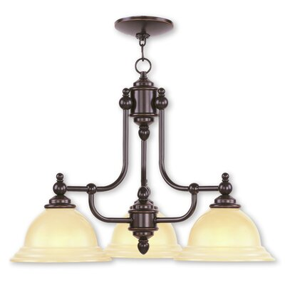 Brunette 3-Light Shaded Metal Chandelier